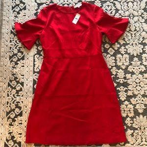 LOFT Red Flounce Sleeve Flare Cocktail Dress